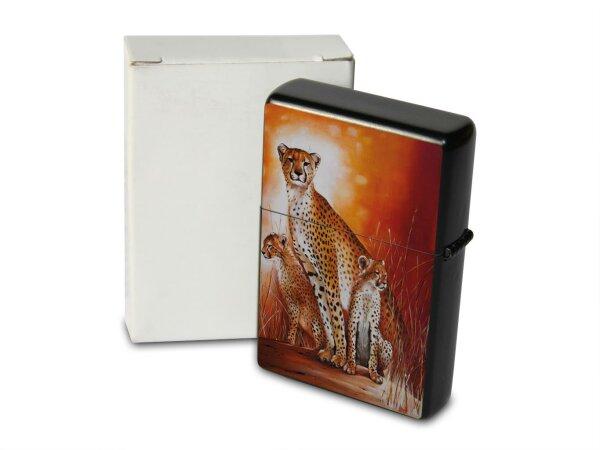 A. Warminski Pocket Vintage Windproof Lighter Brushed Oil Refillable cheetah