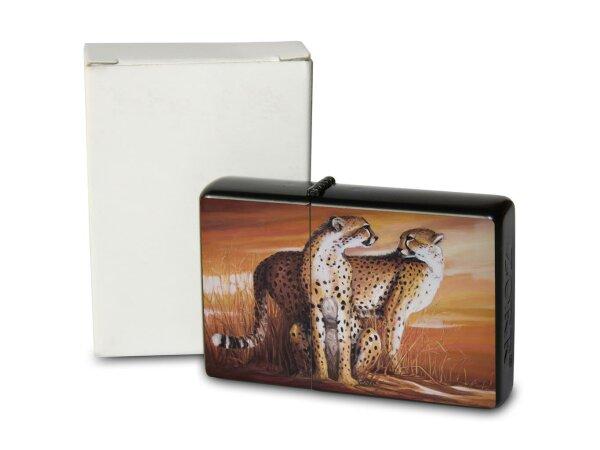 A. Warminski Pocket Vintage Windproof Lighter Brushed Oil Refillable cheetah Africa