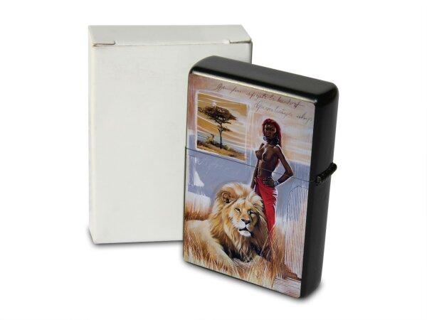 A. Warminski Pocket Vintage Windproof Lighter Brushed Oil Refillable Africa Masai lion