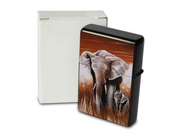 A. Warminski Pocket Vintage Windproof Lighter Brushed Oil Refillable elephant pair