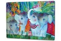 Tin Sign XXL Elephant Zoo Baby flowers