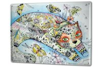 Tin Sign XXL Cat Butterflies
