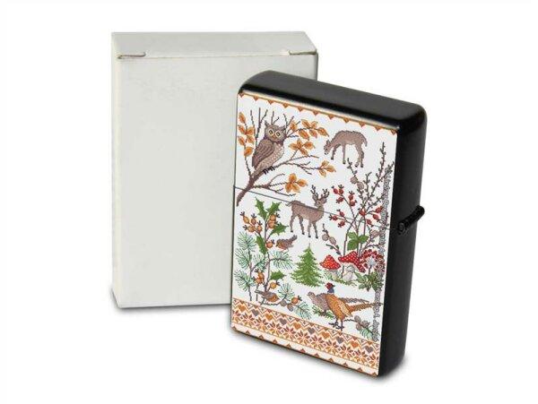 Lindner Design Pocket Vintage Windproof Lighter Brushed Oil Refillable autumn Animals