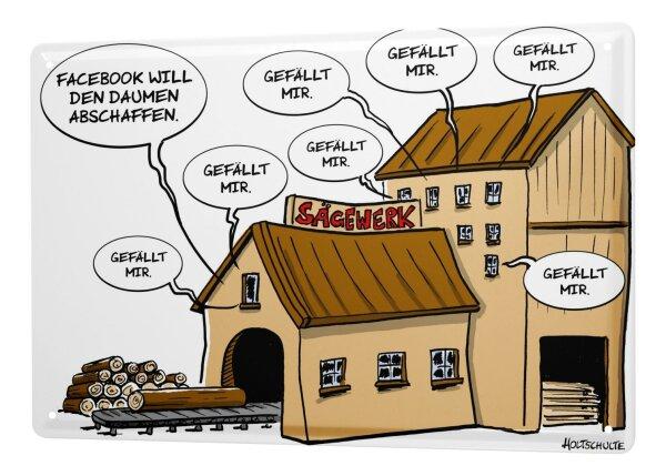 Holtschulte Blechschild Cartoon Fun Deko Sägewerk Daumen Holtschulte Metallschild 20X30 cm