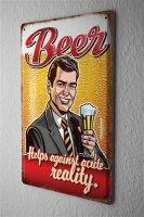 Pit Hammann Blechschild Bier Bar Kneipe Realität schön saufen Wand Deko Metall Schild 20X30 cm