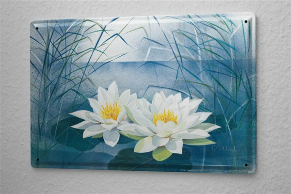 Franz Heigl Tin Sign Wall Decor Adventurer Painting Water Lily Reed Metal Plate 8X12
