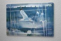 Franz Heigl Blechschild Abenteurer Wand Deko Gemälde Möwe Hafen Metallschild 20X30 cm