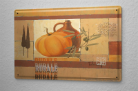 Franz Heigl Tin Sign Globetrotter Pumpkin Painting Olive...