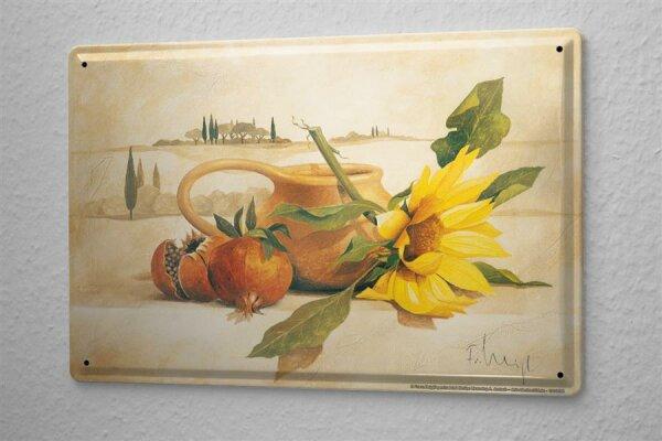 Franz Heigl Blechschild Welt Reise Gemälde Sonnenblume Wand Deko Schild 20X30 cm