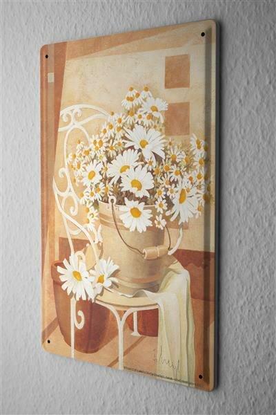 Franz Heigl Blechschild Urlaub Reisebüro Deko Gemälde Kamille Strauß 20X30 cm