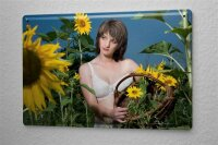 Sexy Girl Tin Sign Underwear Sunflower 8X12""
