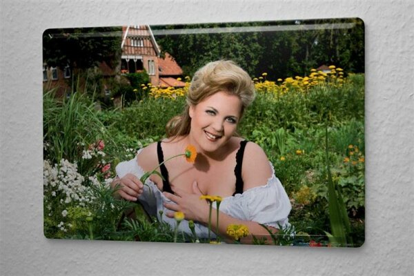 """Tin Sign Pin Up Adult Art Blonde flower meadow 8X12"""""""