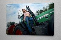 Blechschild Pin Up Erotik Deko Hemd Traktor Metall Wand...