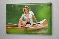 Blechschild Pin Up Erotik Deko Kanu Blondine Metall Wand Schild 20X30 cm