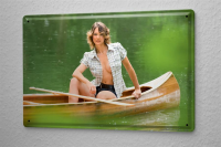 Tin Sign Pin Up Adult Art canoe blonde 8X12