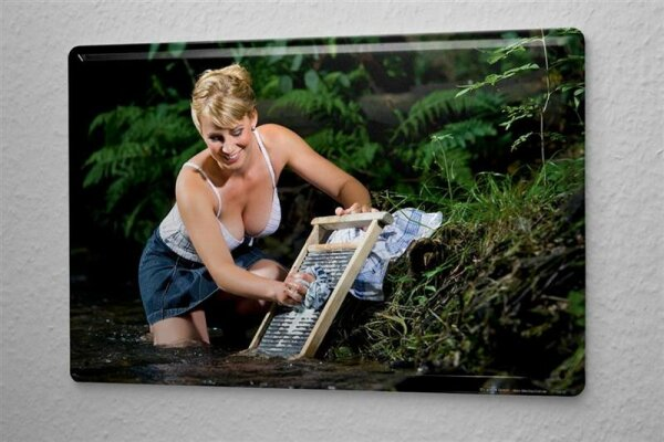 "Sexy Girl Tin Sign River wash 8X12"""