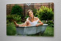 Sexy Girl Tin Sign garden tub 8X12