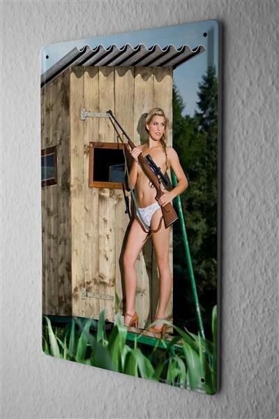 Blechschild Sexy Girl Jägerin oben ohne Metallschild 20X30 cm