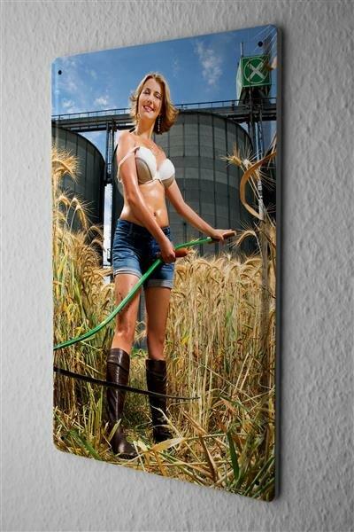 Blechschild Pin Up Erotik Deko Kornfeld Sense Metall Wand Schild 20X30 cm