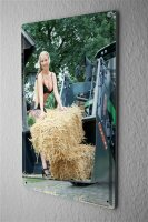 Tin Sign Pin Up Adult Art Lingerie hay bales 8X12""