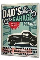 Perpetual Calendar Garage Dad´s garage Tin Metal...