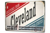 Perpetual Calendar City Cleveland USA Tin Metal Magnetic