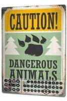 Perpetual Calendar Fun Danger Animal Tin Metal Magnetic