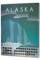 Perpetual Calendar Holiday Travel Agency Alaska USA Tin Metal Magnetic