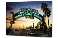 Tin Sign XXL Retro Art Metropole Beach pier fishing