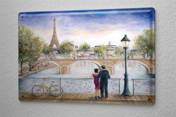 M. Dunlap Blechschild Abenteurer Wand Deko Frankreich Paris Eiffelturm Metallschild 20X30 cm