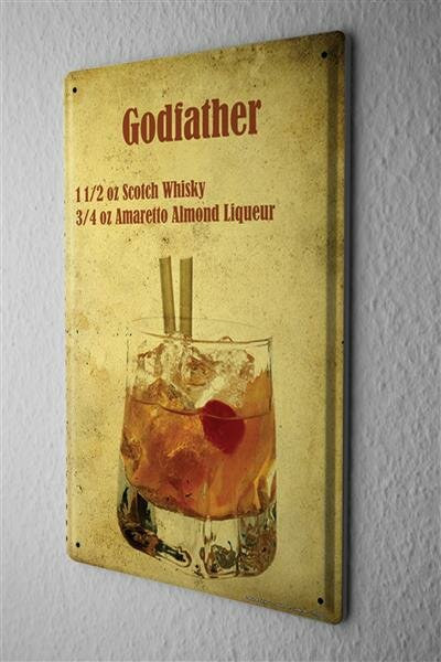 Blechschild Alkohol Retro Cocktail Godfather Bar Kneipe Restaurant