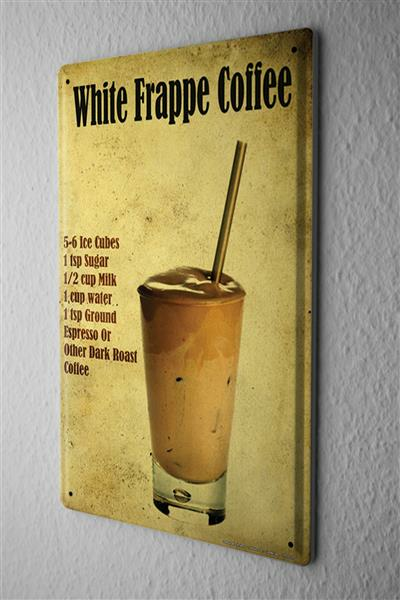 Blechschild Bar Party White Frappe Coffee