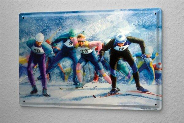 H. L. Koehler Blechschild Nostalgie Skilanglauf Metall Wand Deko Schild 20X30 cm