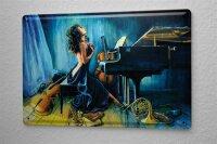 H. L. Koehler Blechschild Pin Up Erotik Deko Klavier Instrumente Metall Wand Schild 20X30 cm
