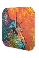 Wall Clock Cat Colorful cat Printed Acryl Acrylglas Retro