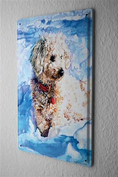 H. L. Koehler Blechschild Tierheim Hund Schnee Metall Wanddeko 20X30 cm