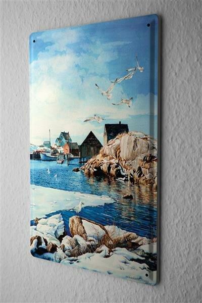 H. L. Koehler Blechschild Welt Reise Skandinavien Hafen Wand Deko Schild 20X30 cm