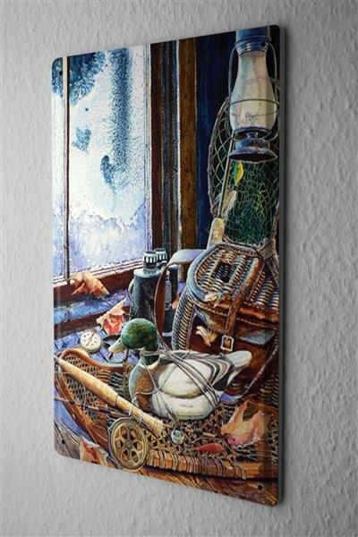 H. L. Koehler Blechschild Retro Fernglas Ente Metall Wand Deko Schild 20X30 cm
