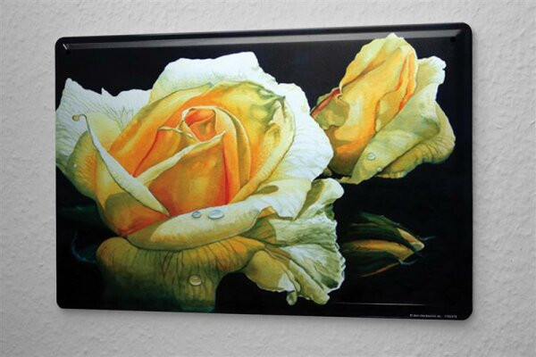 H. L. Koehler Blechschild Küchen Deko Rosen Blätter Metallschild 20X30 cm