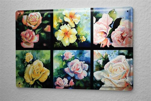 H. L. Koehler Blechschild Flora Blumen Deko Rosenblüten Metallschild 20X30 cm