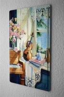 H. L. Koehler Blechschild Klavier Geige Metall Deko Schild 20X30 cm