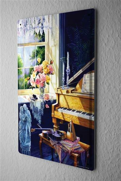 H. L. Koehler Blechschild Retro Klavier Blumen Wand Metall Schild 20X30 cm