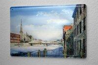 H. L. Koehler Blechschild Winter Kathedrale Brücke Wand Deko Metall Schild 20X30 cm