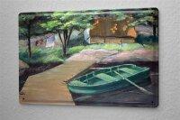 H. L. Koehler Blechschild Nostalgie Ruderboot Steg Metallschild 20X30 cm