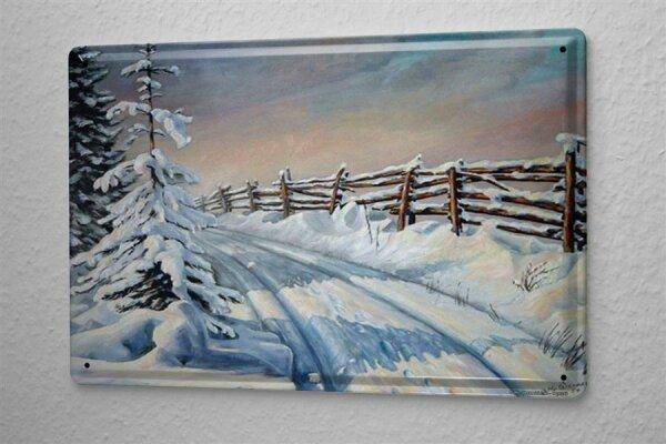 H. L. Koehler Blechschild Schnee Feldweg Wand Deko Metall Schild 20X30 cm