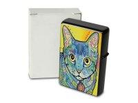 Pocket Windproof Lighter Brushed Oil Refillable Colorful cat