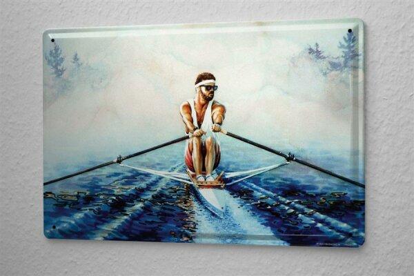 H. L. Koehler Blechschild Retro Deko Rudern Boot Stirnband Metallschild 20X30 cm