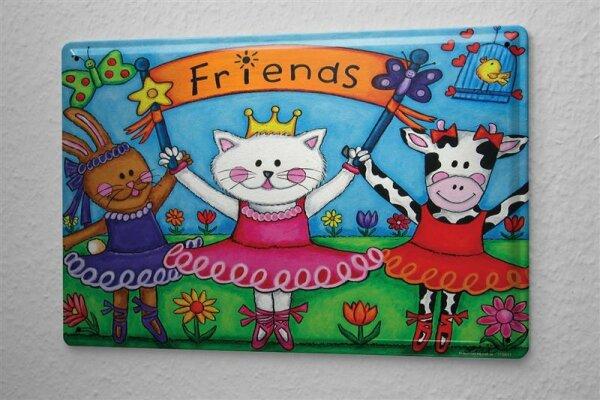 Blechschild Fun Freunde Katze Kuh Hase