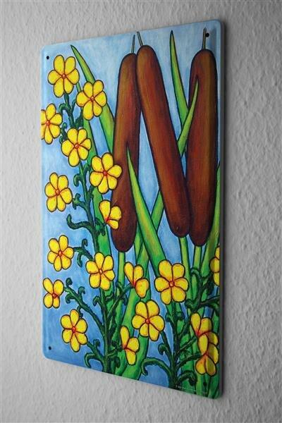 Blechschild Blumenladen Blüte Schilf Klee