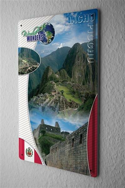 Blechschild Welt Reise Weltwunder Machu Picchu Wand Deko Schild 20X30 cm